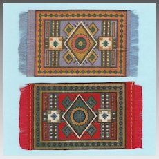 Pair of Antique Dollhouse Miniature Tobacco Felt Rugs Early 1900s