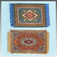 Two Antique Miniature Tobacco Felt Rugs Early 1900s