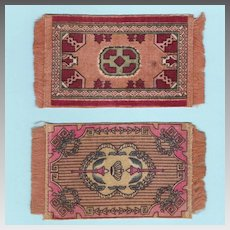 Two Miniature Tobacco Felt Rugs Early 1900s