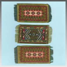 3 Antique Green Dollhouse Tobacco Felt Rugs Early 1900s