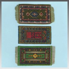 Three Green Antique Miniature Tobacco Felt Rugs Early 1900s