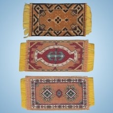 3 Antique Tobacco Felt Rugs Early 1900s