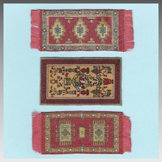 3 Small Antique Dollhouse Tobacco Felt Rugs Early 1900s