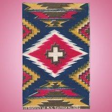 Antique Dollhouse Tobacco Felt Rug Native American Design Early 1900s