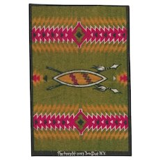Native American Tobacco Felt Rug Early 1900s