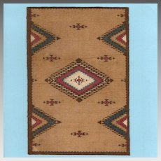 Antique Tobacco Felt Rug Native American Design Early 1900s