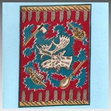 Tobacco Felt Rug Moose Head Design Early 1900s