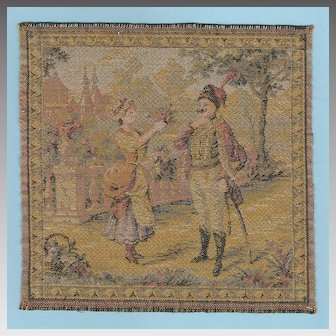 "Woven Antique Miniature French Tapestry 6 1/2"" Square"