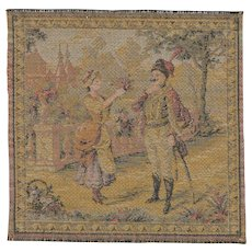 """Woven Antique Miniature French Tapestry 6 1/2"""" Square"""