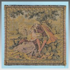 French Antique Woven Miniature Tapestry Dollhouse Wall Hanging