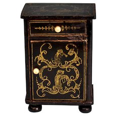 "Biedermeier Boulle Dollhouse Nightstand Late 1800s Large 1"" Scale"