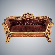 "Biedermeier Boulle Dollhouse Sofa Late 1800s 1"" Scale"