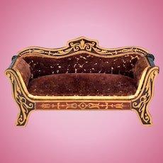"""Biedermeier Boulle Dollhouse Sofa Late 1800s 1"""" Scale"""