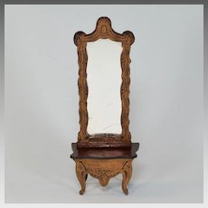 "Biedermeier Boulle Dollhouse Pier Mirror Late 1800s 1"" Scale"