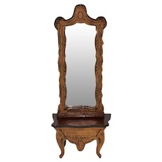 "Biedermeier Boulle Dollhouse Pier Mirror Late 1800s 1"" Scale"