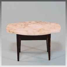 """Biedermeier Dollhouse Table with Marble Turtle Top Late 1800s 1"""" Scale"""