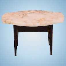 "Biedermeier Dollhouse Table with Marble Turtle Top Late 1800s 1"" Scale"