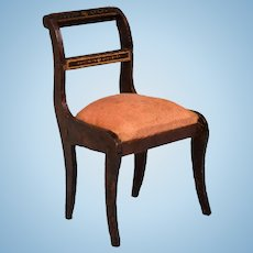 "Biedermeier Boulle Dollhouse Side Chair Mid 1800s 1"" Scale"