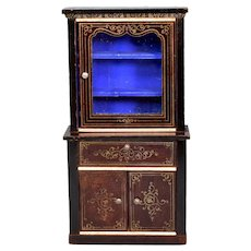 "Biedermeier Boulle Dollhouse Secretary Cabinet Late 1800s 1"" Scale"