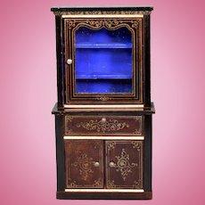 """Biedermeier Boulle Dollhouse Secretary Cabinet Late 1800s 1"""" Scale"""