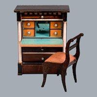 """Biedermeier Dollhouse Secretary / Drop Front Desk /  Mid 1800s 1"""" Scale"""