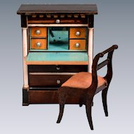 "Biedermeier Dollhouse Drop Front Desk / Secretary Mid 1800s 1"" Scale"