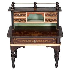 "Biedermeier Boulle Dollhouse Desk by Kestner Mid 1800s 1"" Scale"