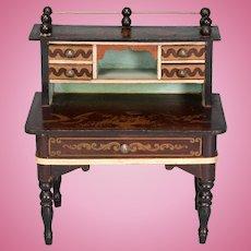 """Biedermeier Boulle Dollhouse Desk by Kestner Mid 1800s 1"""" Scale"""