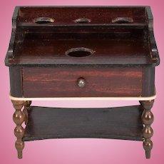 """Biedermeier Dollhouse Washstand by Kestner Mid 1800s 1"""" Scale"""