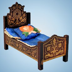 "Biedermeier Boulle Dollhouse Bed Late 1800s 1"" Scale"