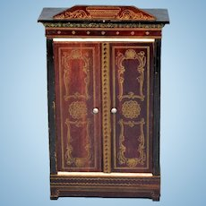 "Biedermeier Boulle Dollhouse Wardrobe Late 1800s 1"" Scale"