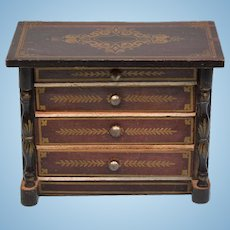 "Biedermeier Boulle Dollhouse Chest of Drawers by D.H. Wagner Late 1800s 1"" Scale"