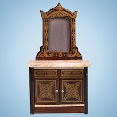 """Antique Dollhouse Biedermeier Boulle Marble Top Mirrored Cabinet Late 1800s 1"""" Scale"""