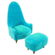 "Petite Princess Occasional Chair & Ottoman – Aqua Velveteen #4412-3 by Ideal 1964 3/4"" Scale"
