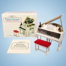 """Petite Princess Royal Grand Piano, Bench and Accessories in Box #4425-5 by Ideal 1964 3/4"""" Scale"""