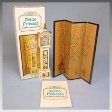 "Petite Princess Grandfather Clock and Folding Screen with Box #4423-0 by Ideal 1964 3/4"" Scale"