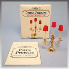 """Petite Princess Royal Candelabra with Box #4439-6 by Ideal 1964 3/4"""" Scale"""