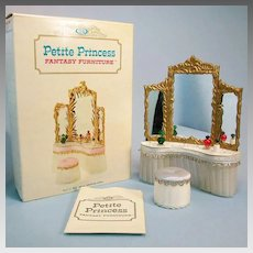 """Petite Princess Royal Dressing Table and Slipper Chair – Blue Satin with Accessories and Box #4417-2 by Ideal 1964 3/4"""" Scale"""