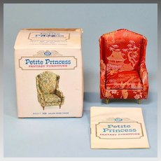 "Petite Princess Salon Wing Chair – Red Orange Brocade with Box #4410-7 by Ideal 1964 3/4"" Scale"