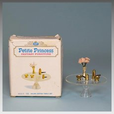 """Petite Princess Salon Coffee Table and Accessories with Box #4433-9 by Ideal 1964 3/4"""" Scale"""