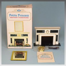 "Petite Princess Dollhouse Regency Fireplace, Mirror and Accessories with Box #4422-2 by Ideal 1964 3/4"" Scale"