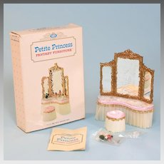 """Petite Princess Royal Dressing Table and Slipper Chair – Pink Satin with Accessories and Box #4417-2 by Ideal 1964 3/4"""" Scale"""