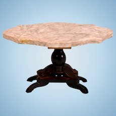 "Biedermeier dollhouse Marble Turtle Top Table Mid 1800s 1"" Scale"