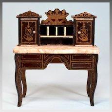 "Biedermeier Boulle Marble Top Lady's Desk Mid 1800s 1"" Scale"