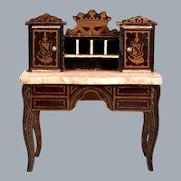 """Antique Dollhouse Biedermeier Boulle Marble Top Lady's Desk Mid 1800s 1"""" Scale"""