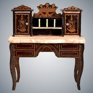 "Biedermeier Boulle Marble Top Lady's Desk Mid 1800s 1"" Scale"