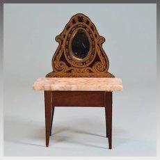 """Biedermeier Boulle Marble Top Vanity Late 1800s 1"""" Scale"""
