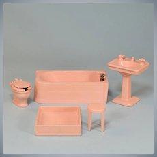 "5 Pc Arcade Cast Iron Dollhouse Bathroom Set Pink Enamel 1925 – 1936 Large 1"" Scale"