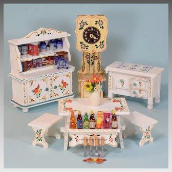 5 Pc. Dora Kuhn German Dollhouse Bavarian Kitchen Furniture with Accessories 1980s 1/10th Scale