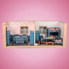 """Mini Mundus German Dollhouse Double Room Box Vignette 1980s 1"""" Scale"""
